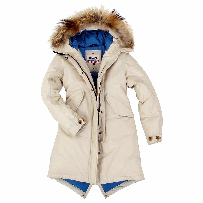 Blauer USA Damen Daunenmantel Parka Daunen Mantel Jacke Winter-Jacke, Daunenparka mit Echt-Fell Kapuze, in den Größen: Gr.XS (34), S (36/38), M (40/42), L (44/46), XL (48) kaufen