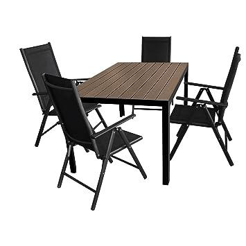 5tlg. Gartengarnitur Aluminium Gartentisch 150x90cm mit Polywood Tischplatte Hochlehner mit 2x2 Textilenbespannung 7-Pos. verstellbar