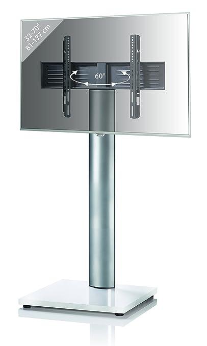 VCM 17023 TV-Standfuß, Metall, weißlack, 54 x 68 x 130 cm