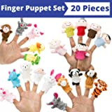 BETTERLINE Finger Puppet Set (20-Piece), 6 Family Member and 14 Animal Finger Puppets Plush Toys - Great for Storytelling, Role-Playing, Teaching, Easter Eggs and Fun