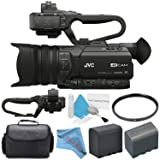 JVC GY-HM170UA 4KCAM Compact Professional Camcorder with Top Handle Audio Unit + BNV-F823 Replacement Lithium Ion Battery + 62mm UV Filter + Carrying Case + Deluxe Cleaning Kit Bundle (Base) (Tamaño: Base)