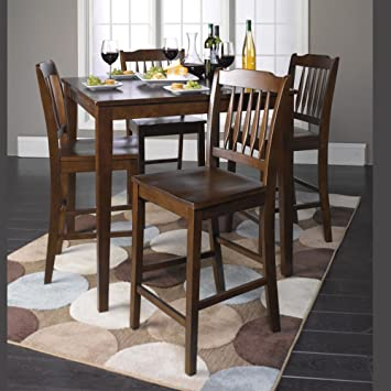 1PerfectChoice Donnie Collection 5 Pieces Counter Height Dining Set Square Table Wood in Walnut
