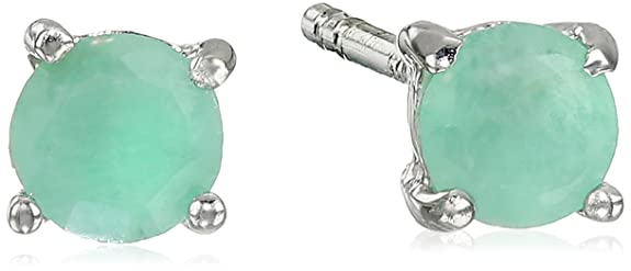 Sterling-Silver-4mm-Round-Emerald-Earrings