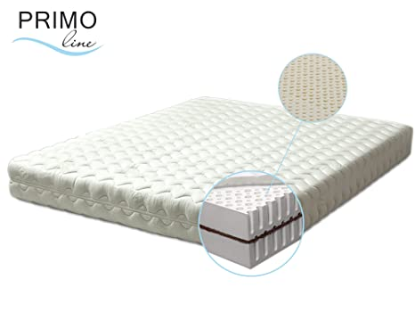 Primo Line Latexmatratze Kokos - 7 Zonen orthopädische Matratze 90x200 H2 mit Naturkokosplatten Höhe 20cm RG 65 (bis 95 kg) - Bezug waschbar mit Reißverschluss - ÖKO TEX® zertifiziert