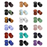 Evevil Wood Mixed Stone Plugs 18 Pairs/36 Pieces Set 2g Ear Plugs Ear Tunnels Ear Gauges Double Flared Ear Expander Stretcher Set (6MM)