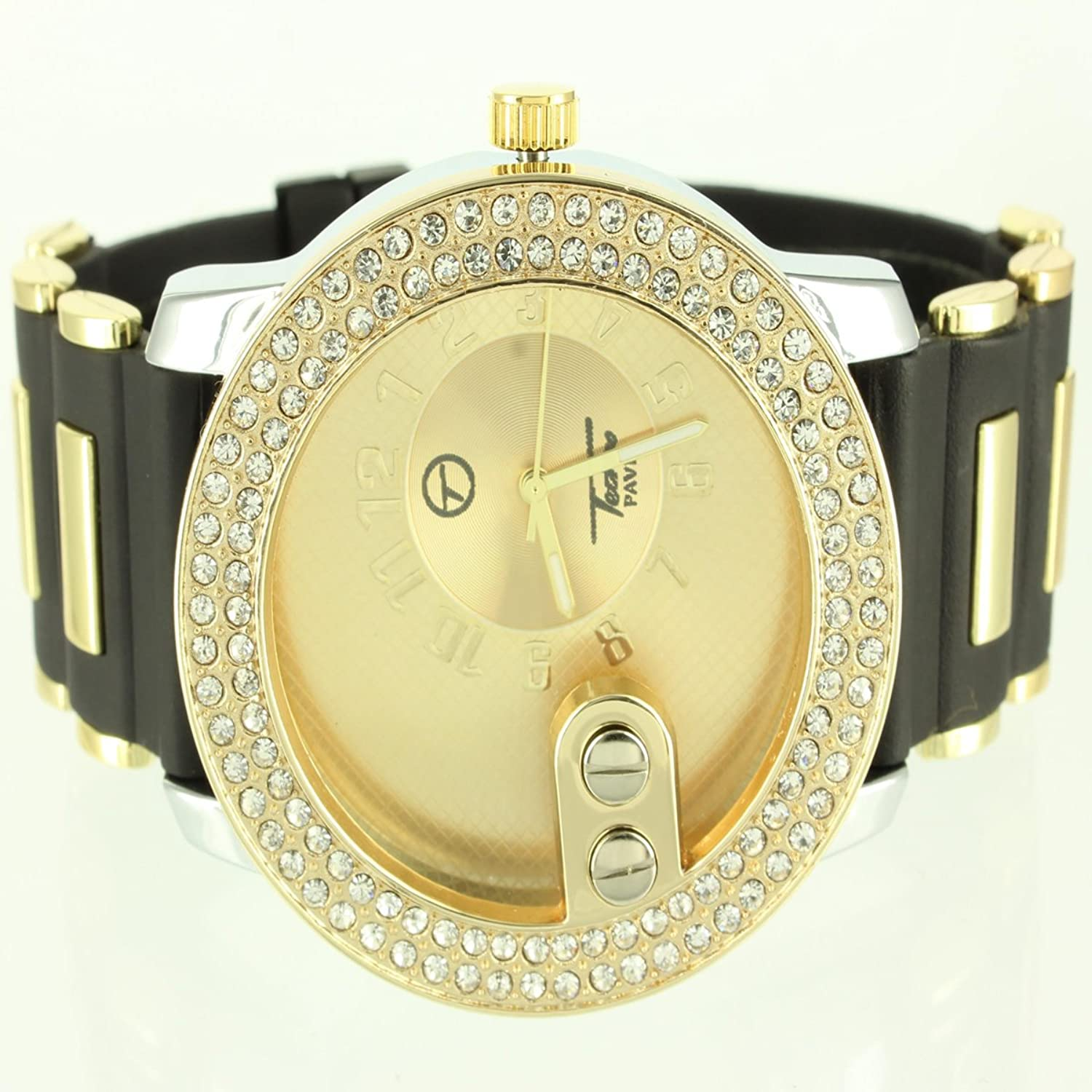Details about Mens Sleek Golden Face Two Row Lab Diamond Techno Pave Silicone Band Watch