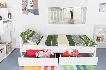 """Bett mit Stauraum """"Easy Sleep"""" K1/ Voll inkl 2 Schubladen und 2 Abdeckblenden, 90 x 200 cm Buche Vollholz weiß lackiert"""