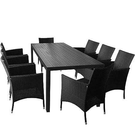 9er Set Gartenmöbel Gartentisch mit Polywood Tischplatte 205x90cm Schwarz 8x Rattansessel mit Polyrattanbespannung inkl. Sitzkissen Gartengarnitur