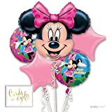 Andaz Press Balloon Bouquet Party Kit with Gold Cards & Gifts Sign, Disney Minnie Mouse Birthday Foil Mylar Balloon Decorations, 1-Set (Color: Minnie Mouse)