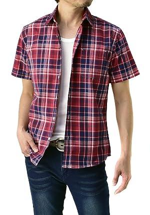 FLAG ON CREW ゆうパケット発送 半袖シャツ メンズ チェックシャツ