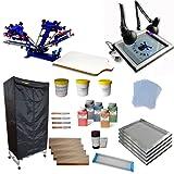 4 Color 1 Station Screen Printing Press Kit full set starter kit (Color: Random)