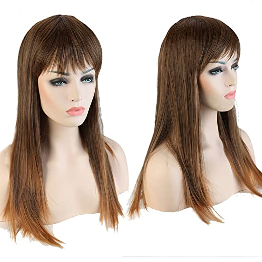 syalex (TM) 58,4cm fille longue ligne droite brun à café Ombre complet Perruques Perruque cheveux résistant à la chaleur