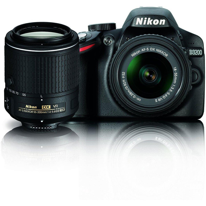 Nikon D3200 24.2 MP CMOS Digital SLR Camera with 18-55mm and 55-200mm VR DX NIKKOR Dual Zoom Lens Bundle (Certified Refurbished)