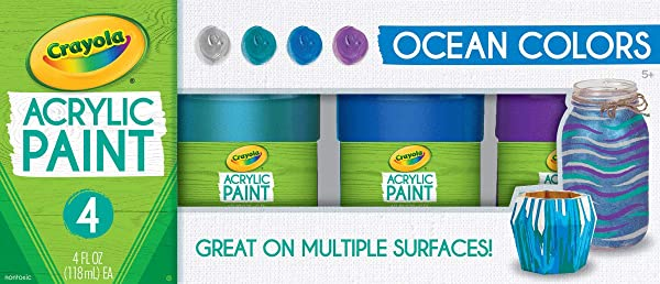 Crayola Paint Set in Ocean Colors, Multi-Surface Craft Paints, Painting Supplies, 4Count