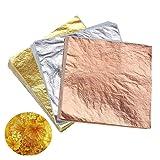 Koogel Gilding Foil Imitation Gold,300 Pcs Imitation Gold Leaf Silver and Copper Leaf for Arts, Crafting, Decoration (Color: Orange)