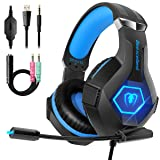 Gaming Headset for PS4, 2019 Latest Ultra Light Professional Gaming Headset, Stereo Surround with Noise Cancelling Soft Microphone 3.5mm Jack for PS4 Xbox One PC Nintendo Laptop iPad (Color: blue)