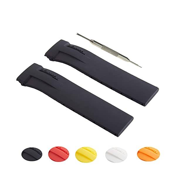 21mm Silicon Rubber Watch Strap Band Fits for T-Race o | Free Spring Bar Tool (Black) (Color: Black, Tamaño: 21mm)