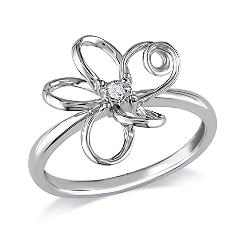 10k White Gold Diamond Flower Ring (0.01 Cttw, G-H Color, I1-I2 Clarity)
