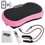 SUPER DEAL Crazy Fit Full Body Vibration Platform Massage Machine Fitness W/Bluetooth, Pink