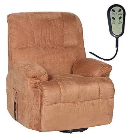 Fernsehsessel elektr. TV Relaxsessel Aufstehhilfe Mikrofaser hellbraun