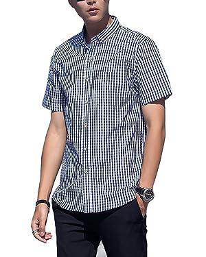 メンズ カジュアル 半袖 シャツ ボタダウン クールビズ チェックシャツ  ギンガムチェック