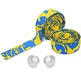 TOPCABIN Camouflage Series Comfort GEL Road Bike Handlebar Tape Bike Bar Tape with Reflective Bar Plugs (Yellow-Blue) a pair (Color: Yellow-Blue)