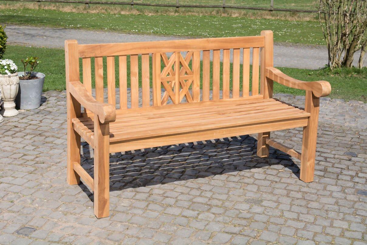 CLP Teak-Gartenbank FLORIDA V2, Teakholz massiv, Sitzhöhe 44 cm – bis zu 2 Größen wählbar 150x72cm günstig