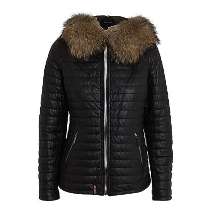 """Damen Lederjacke """"Happy 1"""" - von Oakwood - Farbe schwarz mit Echt Fellkapuze Winterjacke Herbstjacke aus Lammleder"""