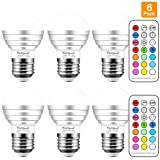 Yangcsl 3W Timing Remote Controller RGBW Color Changing LED Light Bulbs, Double Memory and Wall Switch Control, RGB + Daylight White, 20W Incandescent Bulb Equivalent (Pack of 6) (Color: Daylight White & RGB, Tamaño: Pack of 6)