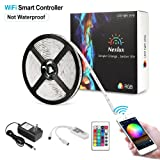 Nexlux LED Strip Lights, Wifi Wireless Smart Phone Controlled Light Strip Kit 16.4ft 150leds 5050 Non-Waterproof LED Lights,Working with Android and IOS System,Alexa, Google Assistant (Color: 16.4ft White Non-waterproof Wifi Led Strip Lights, Tamaño: 16.4ft)