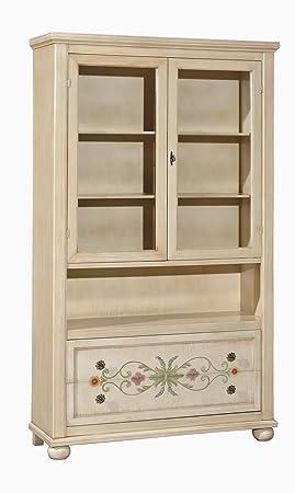 Vetrina in legno finitura avorio patinato con decori, con 2 porte e 2 cassetti 125x61 H.200
