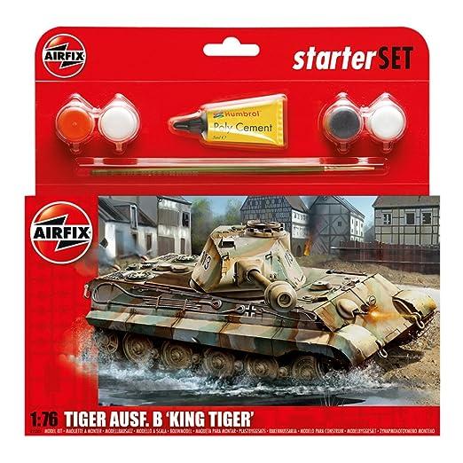 Airfix - Ai55303 - King Tiger Tank - Kit De Démarrage - 89 Pièces - Échelle 1/76