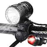 AUOPRO 1200 Lumen USB Rechargeable Bicycle Headlight , LED Bike Lights Front and Back, Front and Rear Light Set, Cycling Safety Accessories for Men and Women
