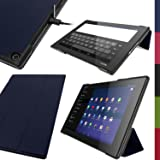 iGadgitz Premium Dark Blue PU Leather Smart Cover Case for Sony Xperia Z2 Tablet SGP511 10.1