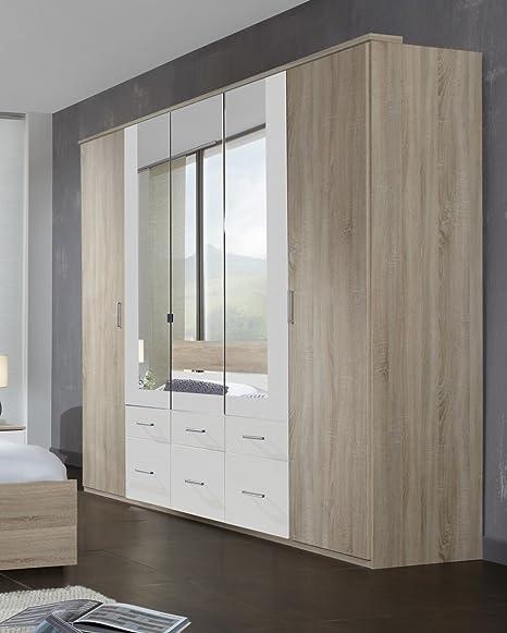 Dreams4Home Kleiderschrank 'Prime', Schlafzimmer, Schrank, Eiche sägerau, weiß, 3 Spiegel, Spiegelschrank, 5-turig, Drehturenschrank