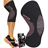 Physix Gear Knee Support Brace - Premium Recovery & Compression Sleeve for Meniscus Tear, ACL, MCL Running & Arthritis - Best Neoprene Stabilizer Wrap for Crossfit, Squats & Workouts (Single Pink M) (Color: (Single) Black & Pink, Tamaño: MEDIUM - 17in - 19.5in (Measured 4in above knee))