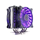 PCcooler RGB CPU cooler Radiator 6 Heatpipes 4PIN 12CM RGB Color LED Fan Computer PC AMD AM2 AM3 FM1 FM2 Intel 775 1151 115 X 2011 CPU Cooling Radiator(RGB can be Dimmed Double Fan) by Tekit (Color: BLACK)
