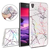 IKASEFU Sony Xperia L1,Bright laser IMD Marble Pattern Design Soft Slim Shockproof Flexible TPU Silicone Rubber Protector Clear Bumper Case Cover for Sony Xperia L1,Colorful white (Color: Colorful white)