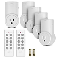 Etekcity ZAP 5LX Auto-Programmable Function Wireless Remote Control Outlet Light Switch with 2 Remotes, 5-Pack Outlet