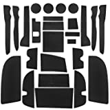 Bucket Seat, Black Trim SENSHINE Console Liner Cup Liner for Toyota Tundra 2020 2019 2018 2017 2016 2015 2014 Door Mat Interior Accessories Kit