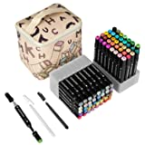 ioiomarker 80 Vibrant Colors Dual Tip Markers Alcohol-Based Permanent Marker Pen Set, Art Profession Drawing Coloring Pens, with Leather Gift Bag for Kids/Adults/Designer(Universal) (Color: Universal 80 Colors)