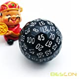Bescon Polyhedral Dice 100 Sides Dice, D100 die, 100 Sided Cube, D100 Game Dice, 100-Sided Cube of Black Color (Color: White)