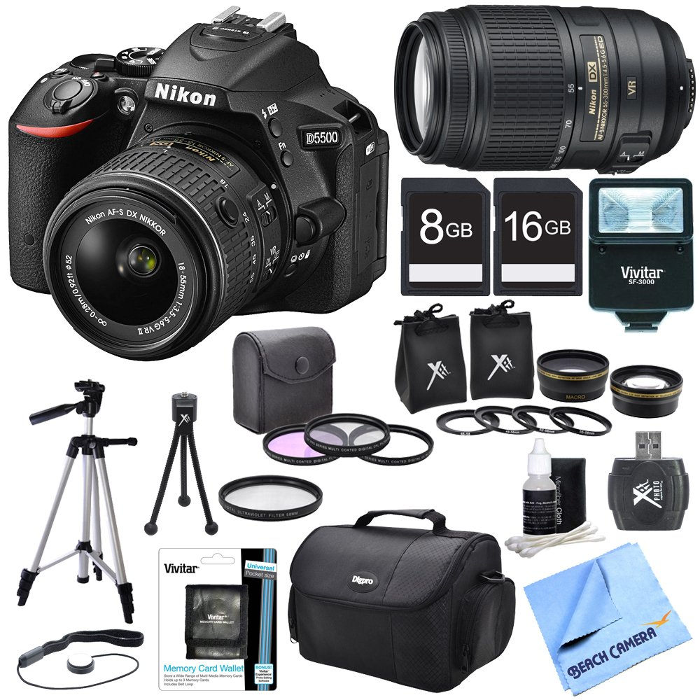 Nikon D5500 Black DX-Format Digital SLR Camera 18-55mm Lens, 55-300 Lens, Lens Set, and Flash Bundle - Includes Lens, Lens Set ..