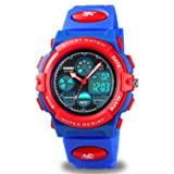 Kids Digital Sport Watch, Boys Girls Waterproof Sports Outdoor Watches Children Casual Electronic Analog Quartz Wrist Watches with Alarm Stopwatch (Red Blue) (Color: Red Blue)