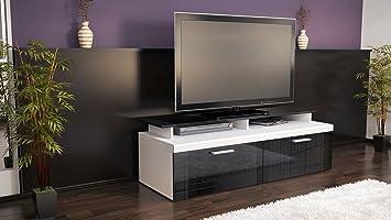 O Meuble Tv Bas Atlanta En En Blanc Mat Noir Laqu