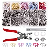 200 Sets Snap Fasteners Kit Tool, Metal Snap Buttons Rings with Fastener Pliers Press Tool Kit for Clothing 5 Color (9mm,plum flower shape, multicolor) (Color: Multicolor, Tamaño: 9mm)