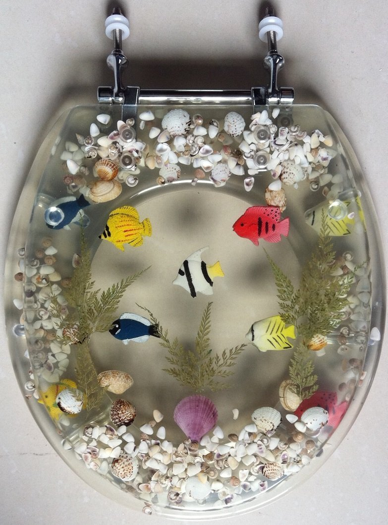 """""""Transparent Fish Aquarium Standard Size Toilet Seat with Cover Acrylic Seats Clear"""""""