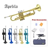 TRUMPET - Apelila Bb Key Brass Gold Lacquer with Care Case Valve+Mouthpiece+Strap+Gloves (Color: Brass)