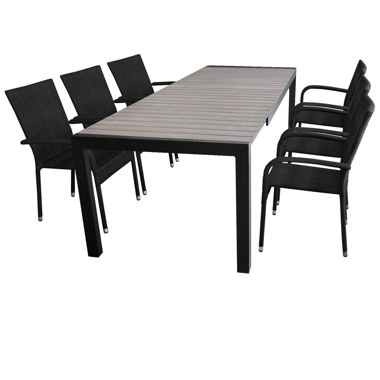 7tlg. Gartengarnitur Ausziehtisch 205/275x100cm + 6x Stapelstuhl mit Polyrattanbespannung Sitzgruppe Sitzgarnitur günstig kaufen