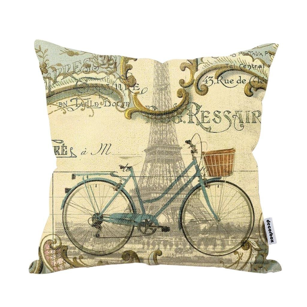 Decorbox Vintage Bike Throw Pillow Case Bicycle Cushion Cover Pillowcase Gift Anniversary Cushion Covers Paris Eiffel Tower 0